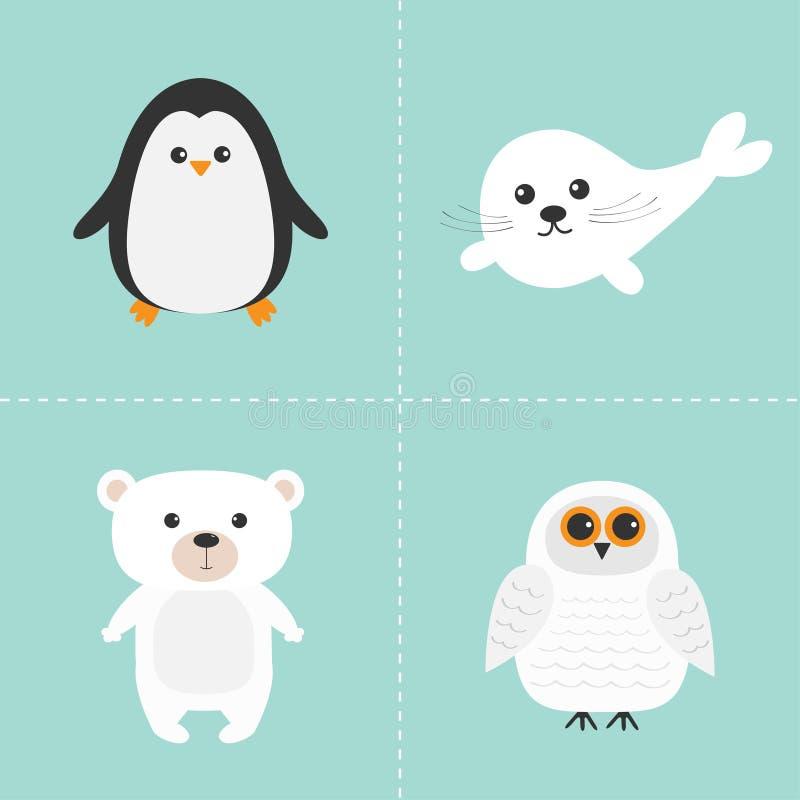 Arctic polar animal set. White bear, owl, penguin, Seal pup baby harp. Kids education cards. Blue background. Isolated. royalty free illustration
