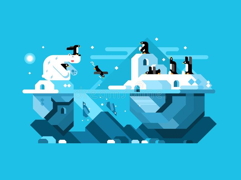 Arctic polar bear with penguins royalty free illustration