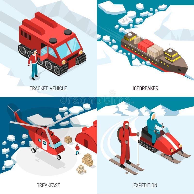 Arctic Polar Station Isometric Concept stock illustration