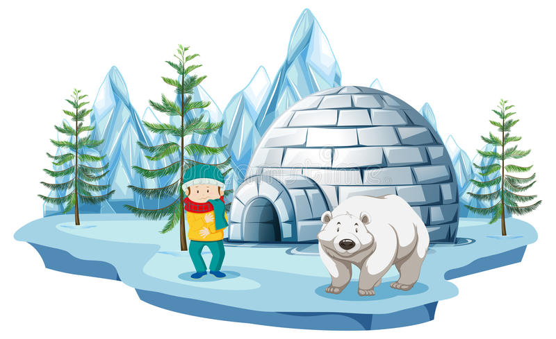 Arctic scene with boy and polar bear by igloo royalty free illustration