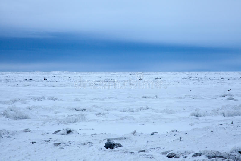 Arctic Sea Ice. Outside a rural Alaskan community royalty free stock photos