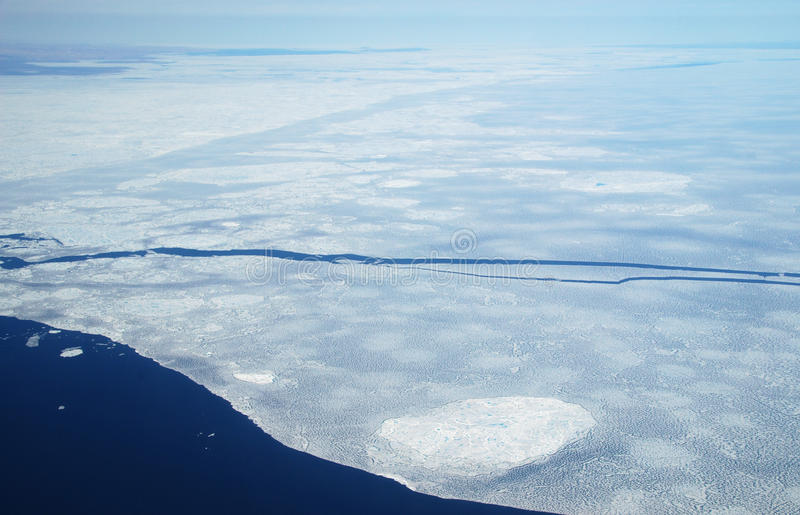 Arctic Sea Ice. Summer in he high arctic showing sea ice from the air royalty free stock photos