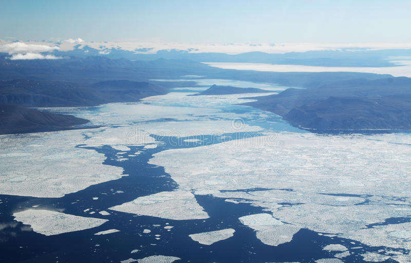 Arctic Sea Ice. Summer in the high arctic showing sea ice from the air stock photos