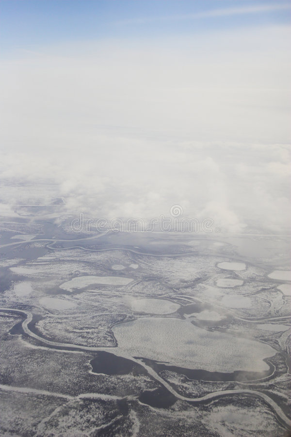 Arctic tundra from air stock photo
