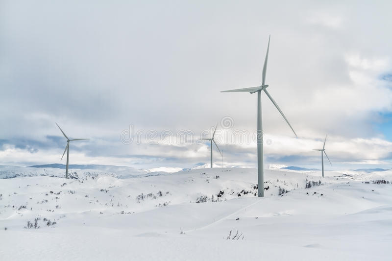 Arctic windmills stock images