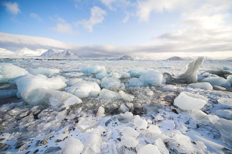 Arctic winter landscape - sea, glacier, mountains. Arctic, Spitsbergen, Svalbard stock photo