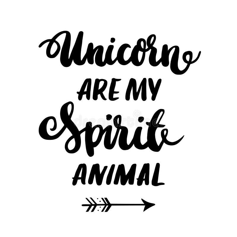 Ard ¡ Ð с единорогом ` надписи мое животное духа! ` в ультрамодном каллиграфическом стиле бесплатная иллюстрация