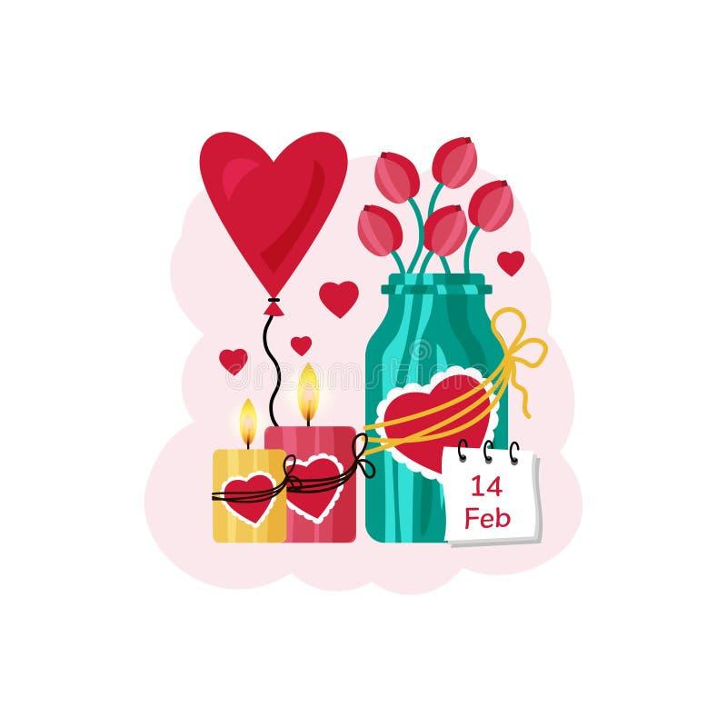 Ard romântico para o dia de Valentim Tulipas em uma lata, velas com corações e um balão coração-dado forma Ilustração do vetor ilustração royalty free