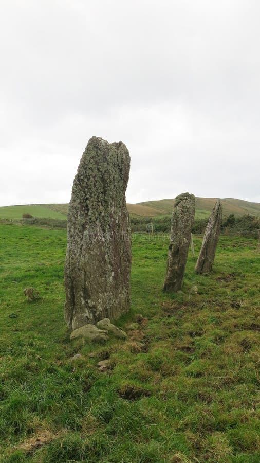 Ardamore three stone alignment. Three megalithic stones aligned to the  winter solstice sunset, near Lios Póil, Dingle, Kerry, Ireland stock photo