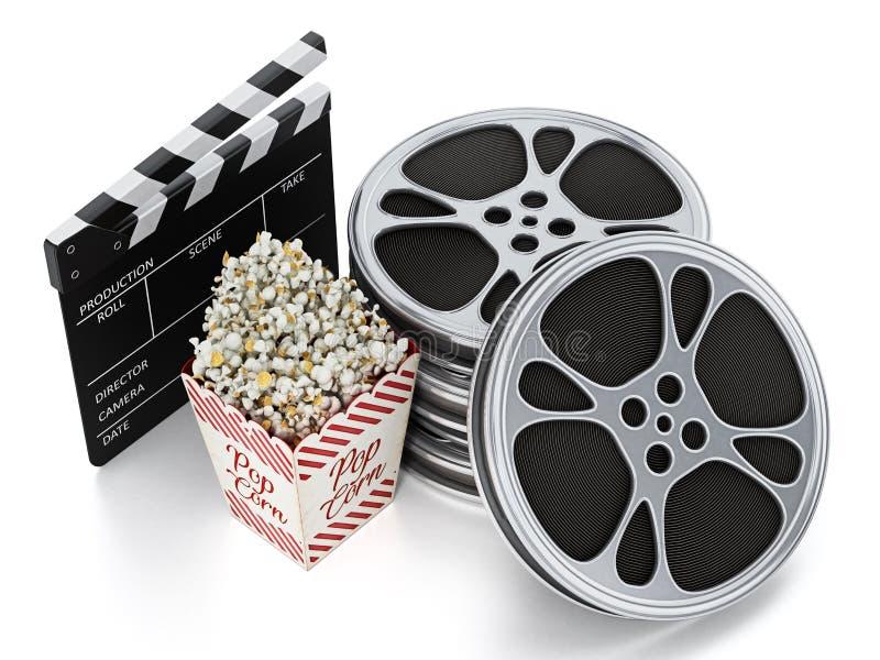 Ardesia d'annata del popcorn, dell'assicella e del film isolata su bianco illustrazione 3D illustrazione di stock