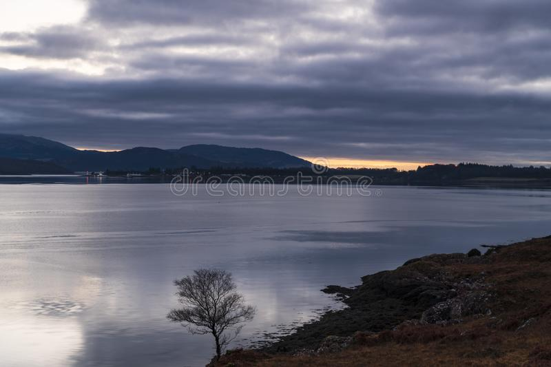 Ardgour. A sunset over Loch Linnhe near the corran narrows and Ardgour, Lochaber, Scotland royalty free stock images