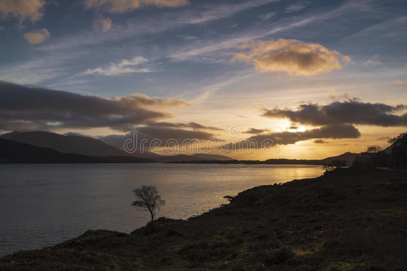 Ardgour Sunset. A sunset over Loch Linnhe near the Corran Narrows and Ardgour, Lochaber, Scotland royalty free stock image