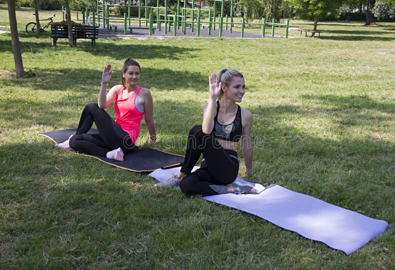 Ardha Matsyendrasana joga poza Joga w parku zdjęcia royalty free