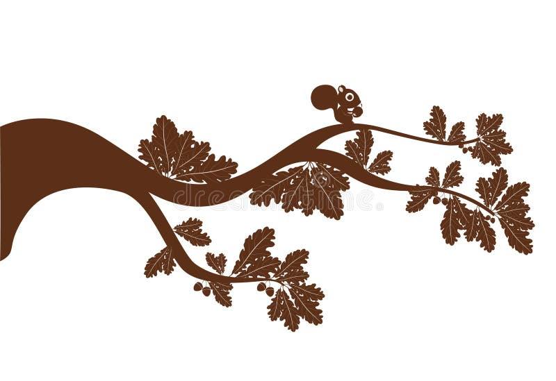 Ardilla de la silueta de Brown en una rama de árbol ilustración del vector