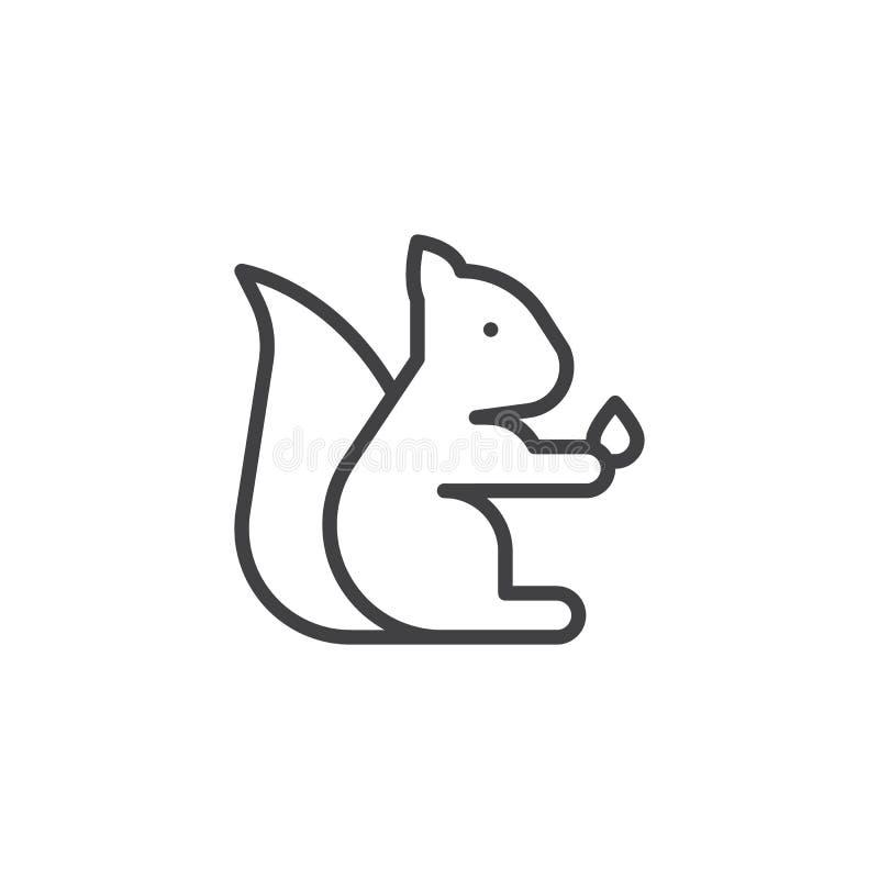 Ardilla del animal doméstico con el icono del esquema de la nuez stock de ilustración