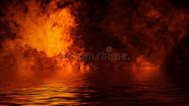 Ardono le sovrapposizioni di struttura della fiamma del fuoco su fondo isolato con la riflessione dell'acqua Elemento di disegno fotografia stock libera da diritti