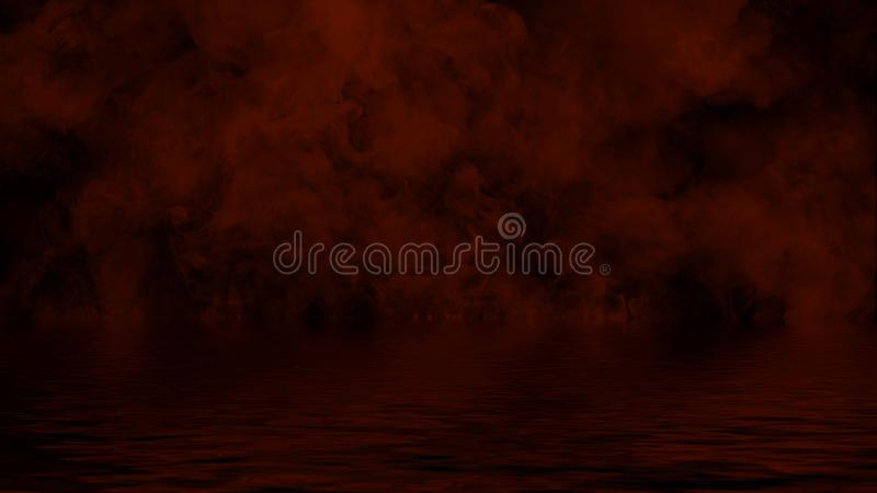 Ardono le sovrapposizioni di struttura della fiamma del fuoco su fondo isolato con la riflessione dell'acqua Elemento di disegno fotografie stock