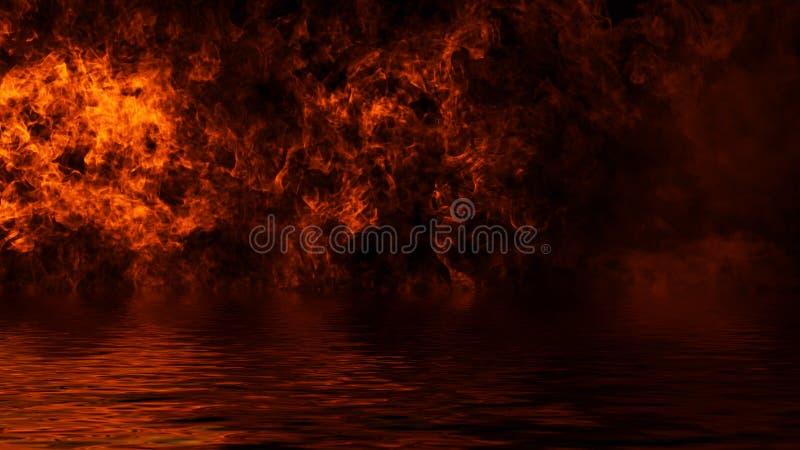 Ardono le sovrapposizioni di struttura della fiamma del fuoco su fondo isolato con la riflessione dell'acqua Elemento di disegno immagini stock