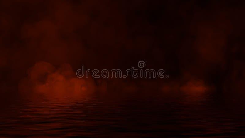 Ardono le sovrapposizioni di struttura della fiamma del fuoco su fondo isolato con la riflessione dell'acqua Elemento di disegno fotografie stock libere da diritti