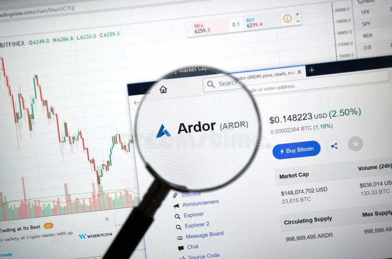 Ardor altcoin site under magnifying glass. MONTREAL, CANADA - SEPTEMBER 8, 2018: Ardor altcoin site under magnifying glass. Blockchain is a growing list of royalty free stock images