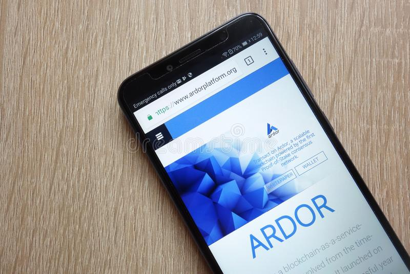 Ardor ARDR cryptocurrency website displayed on Huawei Y6 2018 smartphone. KONSKIE, POLAND - JULY 01, 2018: Ardor ARDR cryptocurrency website displayed on Huawei royalty free stock photos
