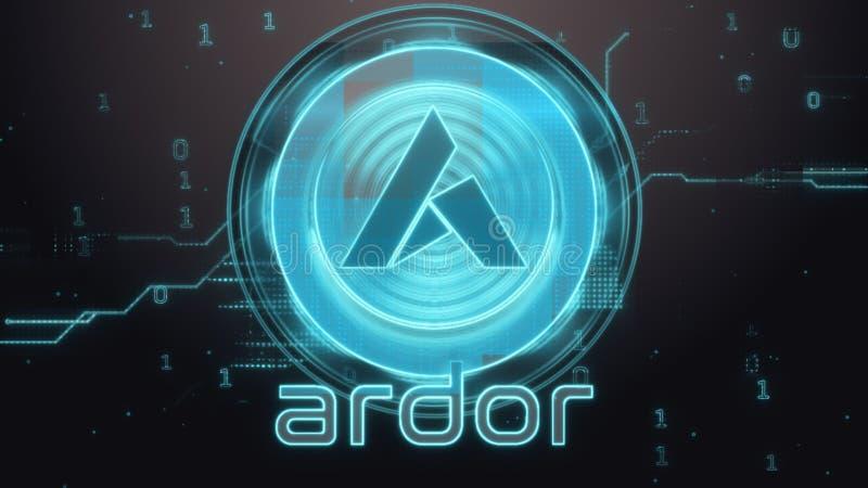 Ardor cryptocurrency symbol. Hi-tech futuristic background illustration. Glitches, lines, digits royalty free illustration