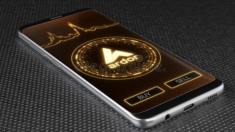 Ardor cryptocurrency symbol on mobile app screen. 3D illustration. Ardor cryptocurrency symbol on mobile app screen. Price graph, buy and sell buttons. 3D royalty free stock image