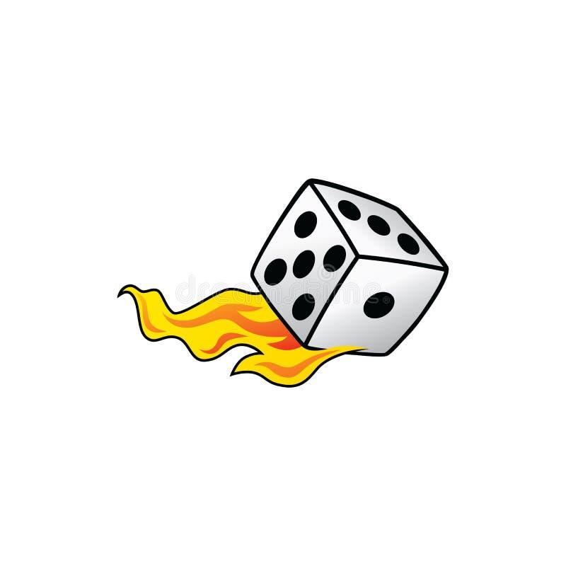 Ardor na arte branca de queimadura do jogo do comprador de risco dos dados do fogo ilustração royalty free