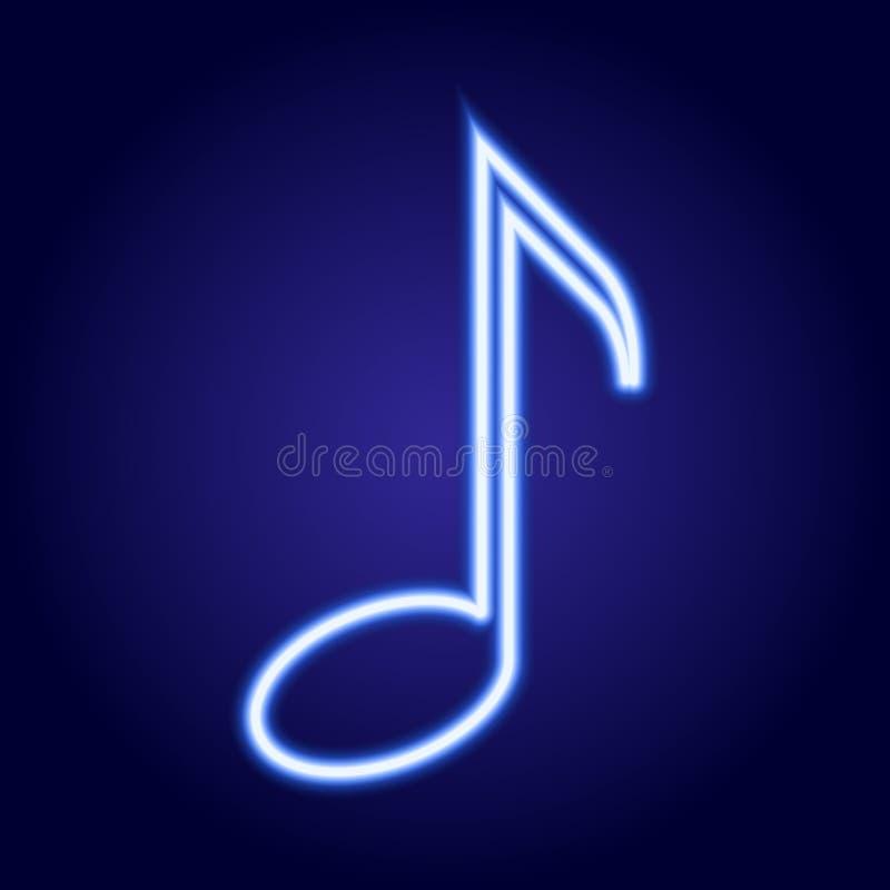Ardore blu al neon della nota musicale dell'illustrazione illustrazione vettoriale