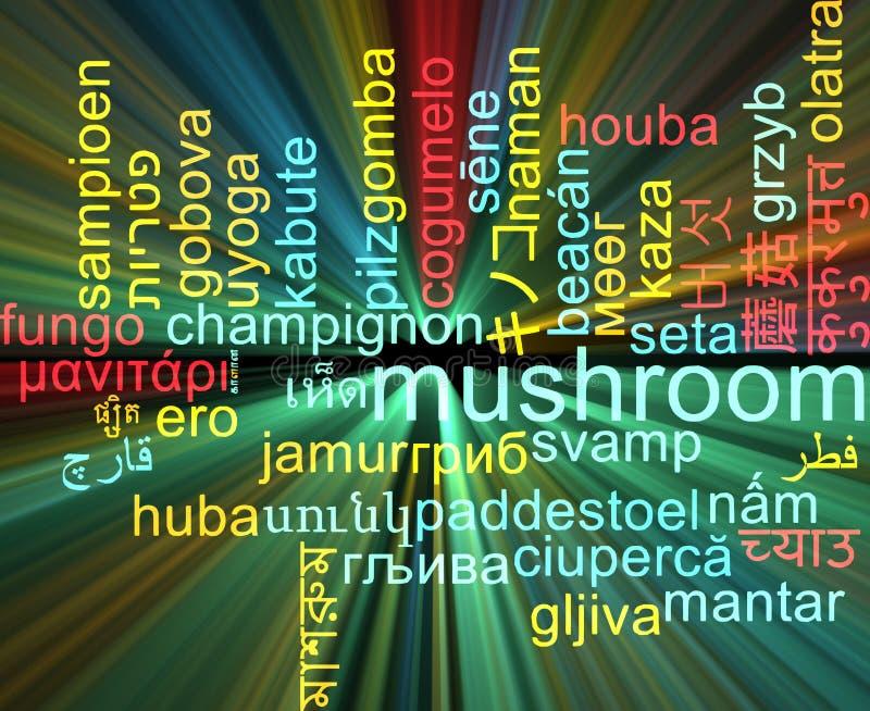 Ardore multilingue di concetto del fondo del wordcloud del fungo illustrazione vettoriale