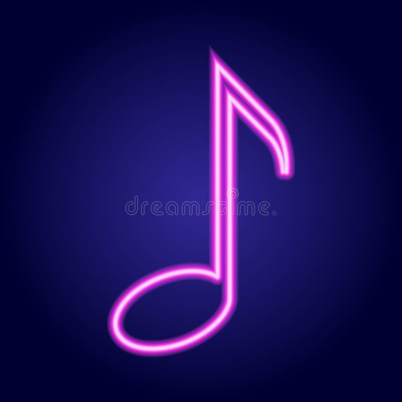 Ardore rosa al neon della nota musicale dell'illustrazione illustrazione vettoriale