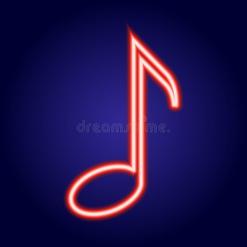 Ardore rosso al neon della nota musicale dell'illustrazione royalty illustrazione gratis