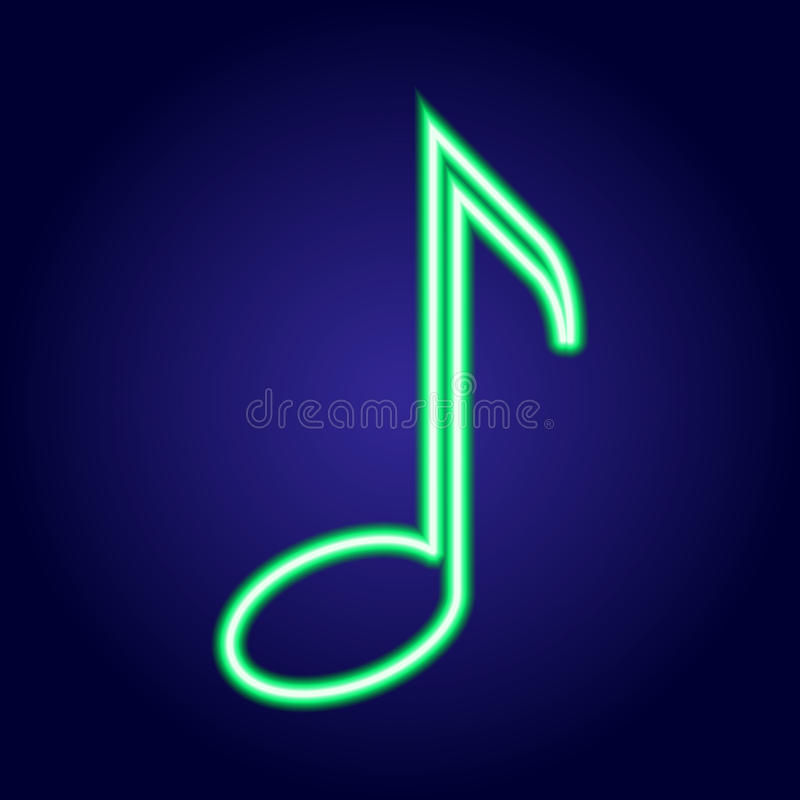 Ardore verde al neon della nota musicale dell'illustrazione illustrazione di stock