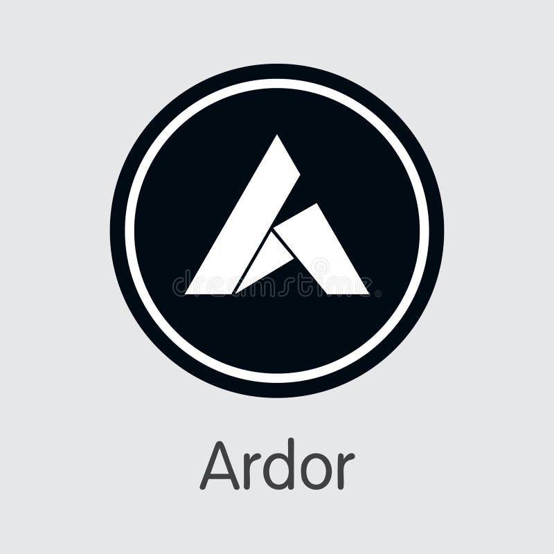 ARDR - Begeisterung Die Ikone von Schlüsselmünzen oder von Markt-Emblem stock abbildung