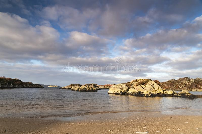 Ardtoe Beach. A winter image of Ardtoe bay at low tide on Ardnamurchan, Lochaber, Scotland stock photo