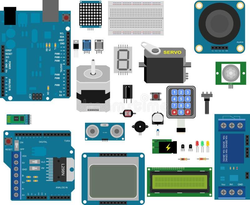 Arduino电子元素 向量例证