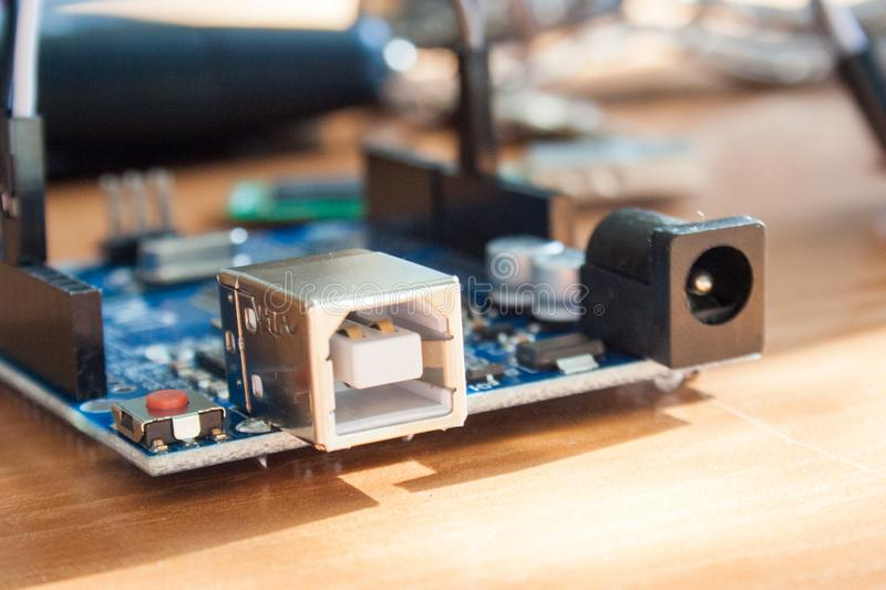 Arduino board micro controller used for building digital devices. An Arduino board micro controller used for building digital devices royalty free stock photography