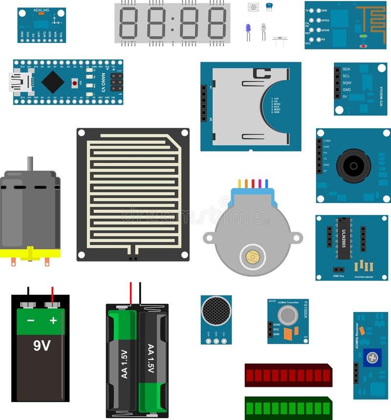 Arduino elektroniska beståndsdelar vektor illustrationer