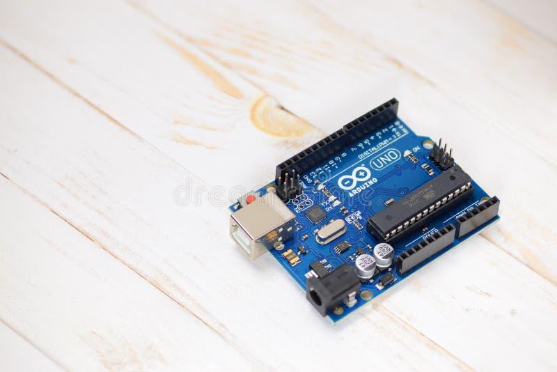 Arduino UNO-microcontroller royalty-vrije stock fotografie