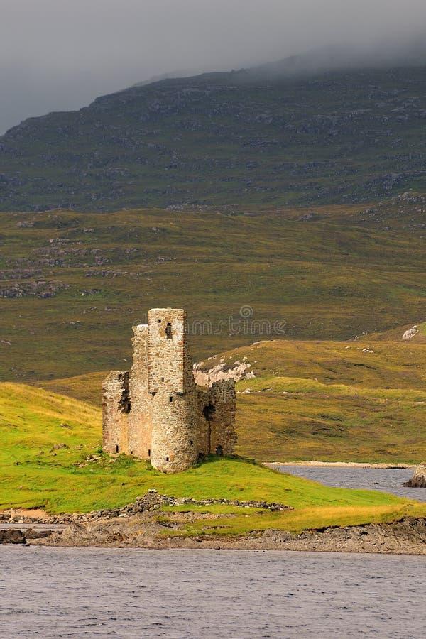 Ardvreck castle, loch Assynt, Scotland stock image