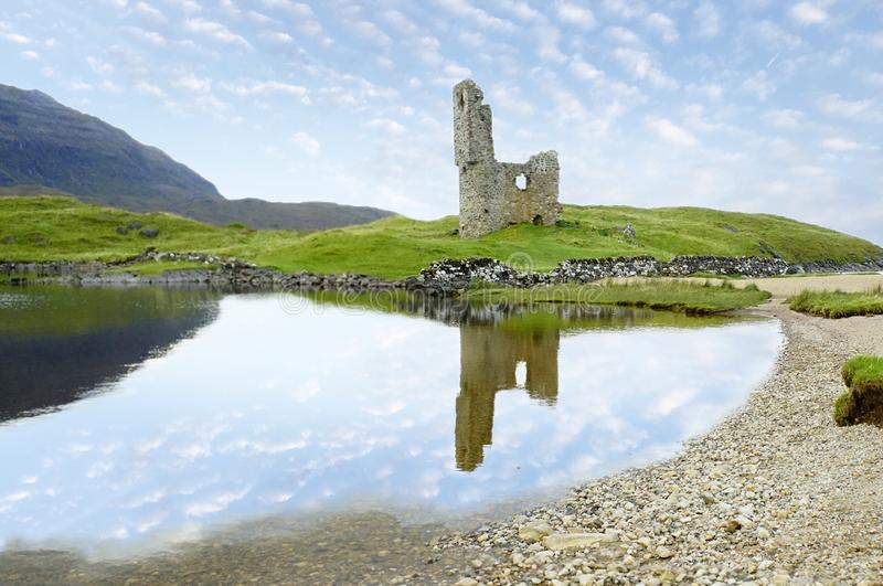 Ardvreck castle ruins in Scotland and Loch Assynt. Picture of Ardvreck castle ruins in Scotland used to be owned by the Macleods and its reflection on Loch stock images
