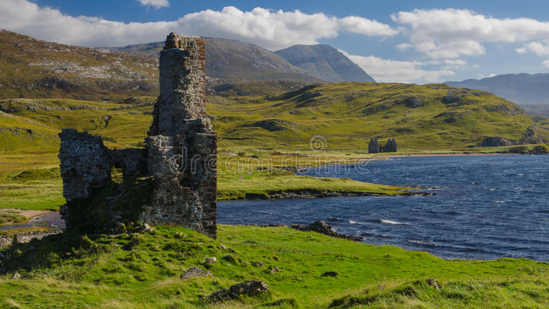 Ardvreck castle (Scotland) and Assynt lake stock images