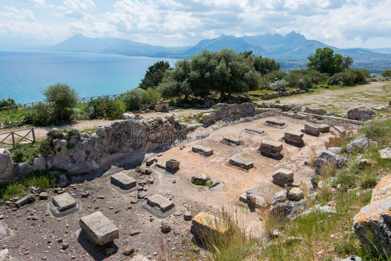 Area archeologica di Solunto, vicino a Palermo, in Sicilia fotografie stock libere da diritti