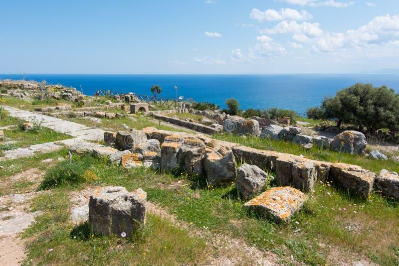 Area archeologica di Solunto, vicino a Palermo, in Sicilia immagini stock