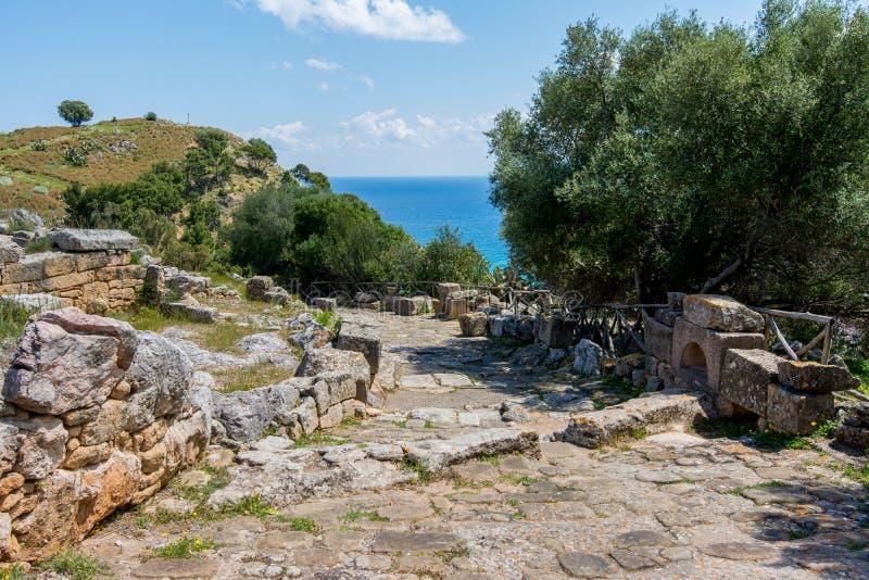 Area archeologica di Solunto, vicino a Palermo, in Sicilia fotografia stock