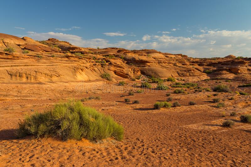 Area around Horseshoe Bend in summer sunny day, formation in Colorado River. royalty free stock photo