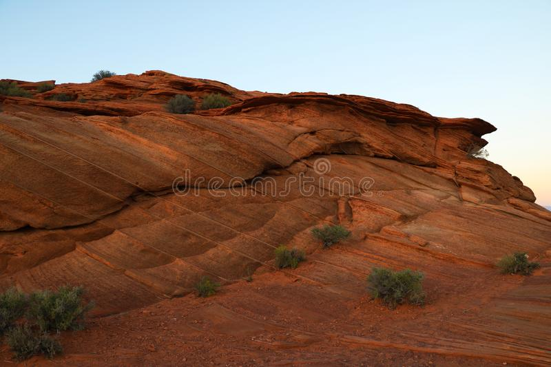 Area around Horseshoe Bend in summer sunny day, formation in Colorado River, Page, Arizona, USA royalty free stock photo