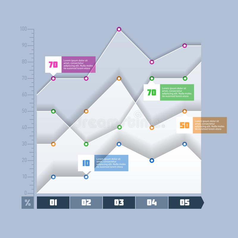 Area chart, graph infographics element royalty free illustration