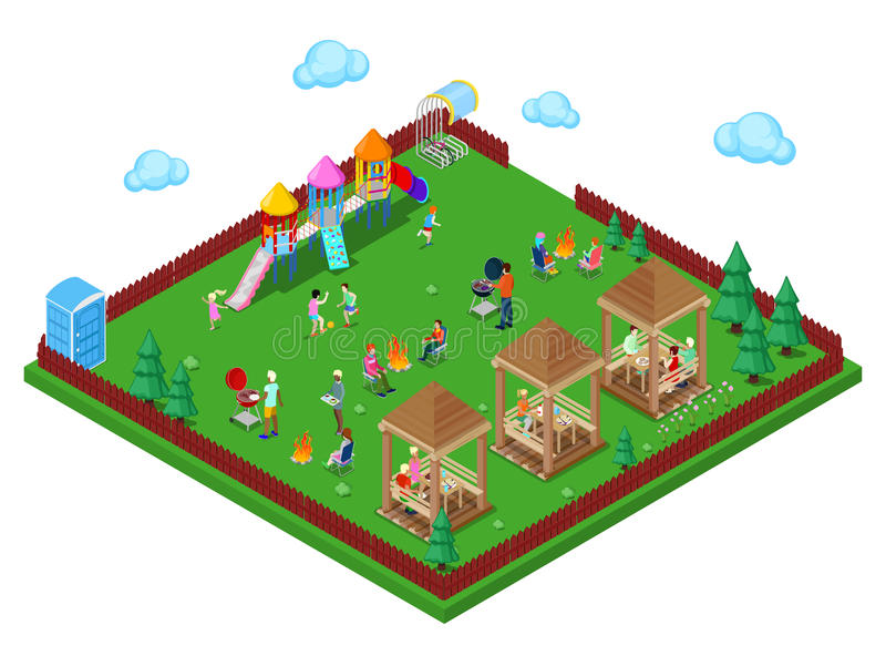 Area del BBQ della griglia della famiglia nella foresta con il campo da giuoco dei bambini e nella gente dell'attivo che cucina c royalty illustrazione gratis