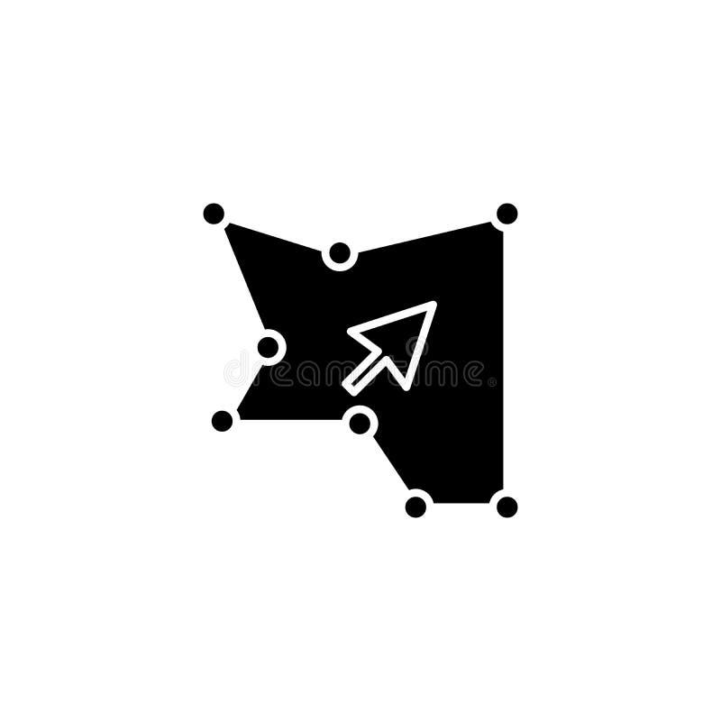 Area del concetto dell'icona del nero di selezione Area del simbolo piano di vettore di selezione, segno, illustrazione illustrazione vettoriale